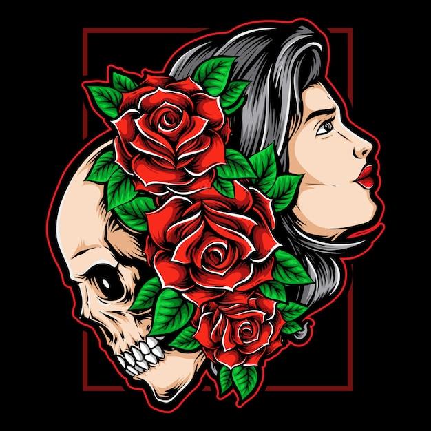 Девушка-череп с розами Premium векторы