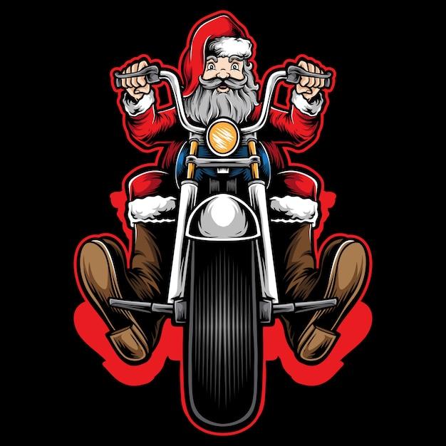 Санта байкер езда на мотоцикле Premium векторы