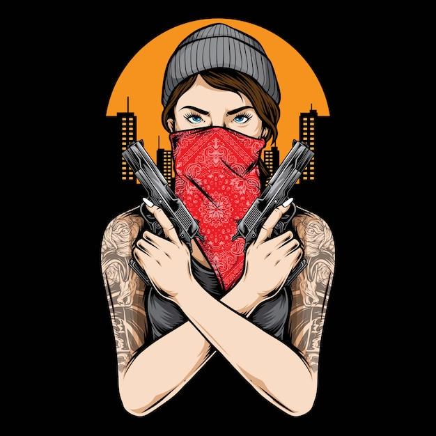 銃のベクトルを保持しているギャングの女の子 Premiumベクター