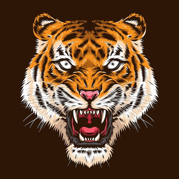 Логотип злой головы тигра Premium векторы