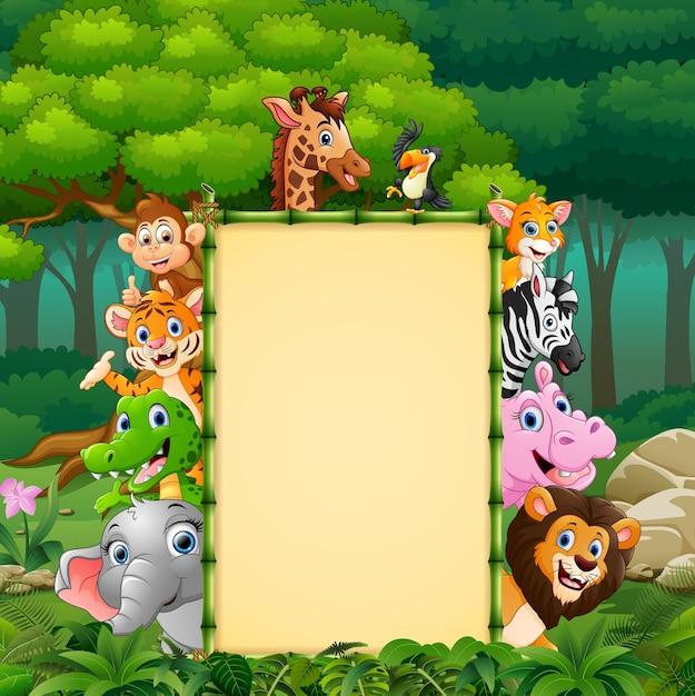 竹の看板が付いている動物 Premiumベクター