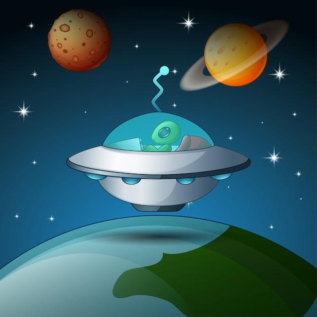 近くの惑星で飛行する宇宙船とロケット Premiumベクター
