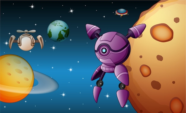 ロボットが宇宙で飛んでいる Premiumベクター