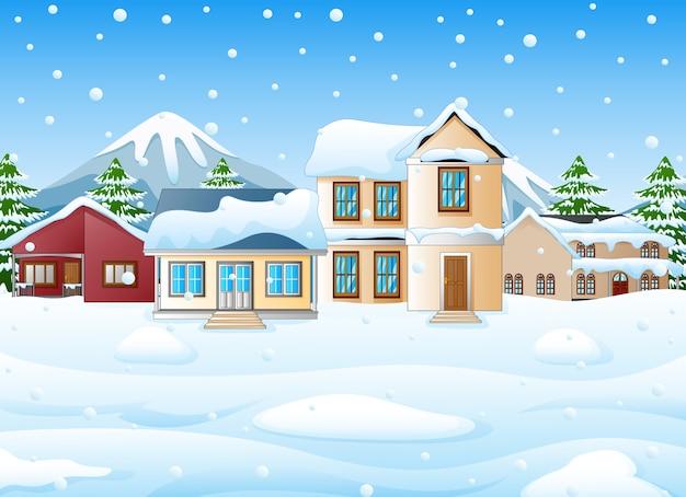 Зимний пейзаж с горами и снежным домом Premium векторы