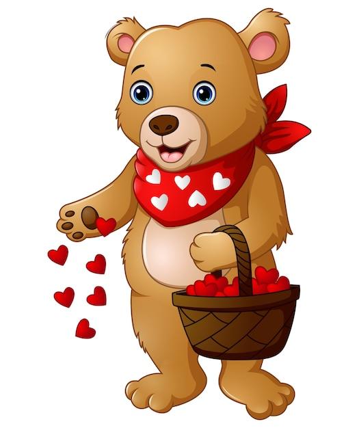 Мультяшный медведь с корзиной красного сердца | Премиум векторы