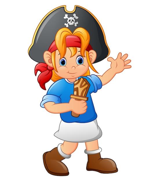木製ナイフを持っている海賊少女 Premiumベクター