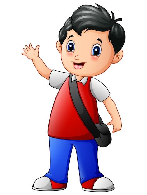 Милый школьный мультфильм в школу Premium векторы