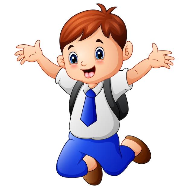 Милый мальчик в школьной форме прыжки Premium векторы