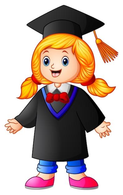 Векторная иллюстрация счастливой градации девушка мультфильм Premium векторы