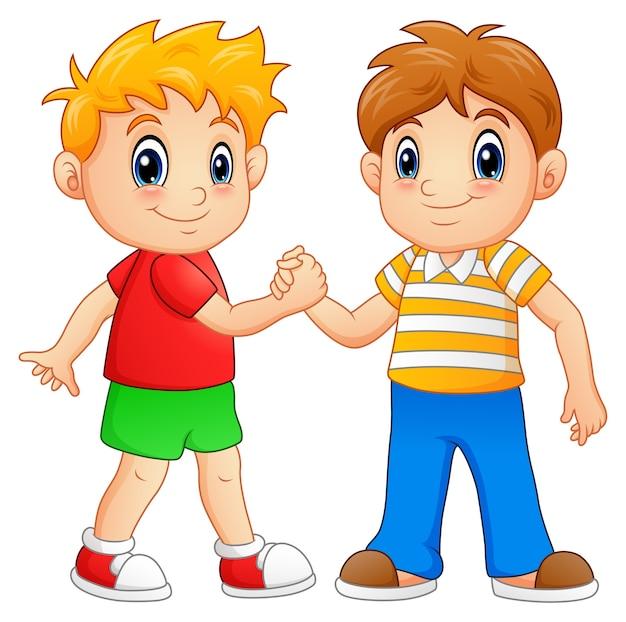 Векторная иллюстрация мультфильм мальчиков рукопожатие Premium векторы
