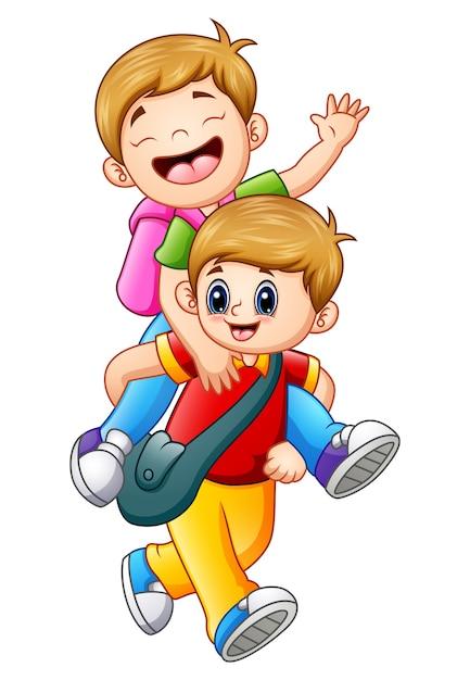 Векторная иллюстрация двух школьников, идущих в школу Premium векторы