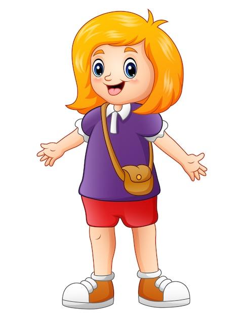 Векторная иллюстрация симпатичные девушки мультфильм размахивая Premium векторы