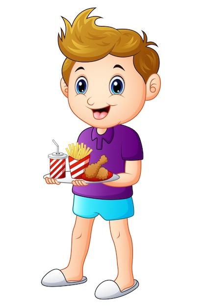 Векторная иллюстрация мультфильм мальчик с подносом фаст-фуд Premium векторы