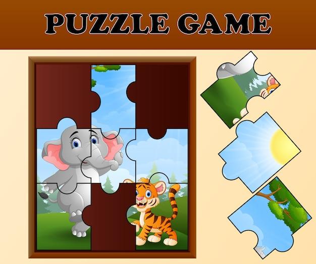幸せな野生動物とジグソーパズルのゲーム Premiumベクター
