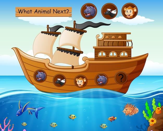 Деревянная лодка, парусная с животными Premium векторы