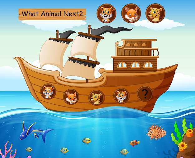 Деревянная лодка, парусная с дикими животными Premium векторы