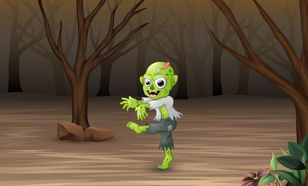 Мультяшные зомби в мертвом лесу Premium векторы