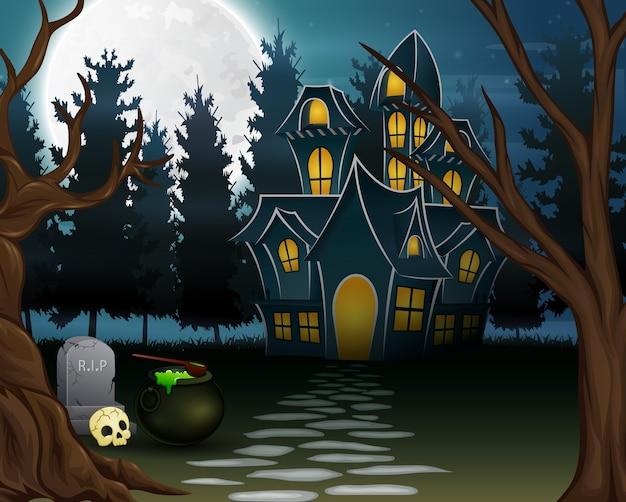 満月の背景の幽霊のある家の眺め Premiumベクター