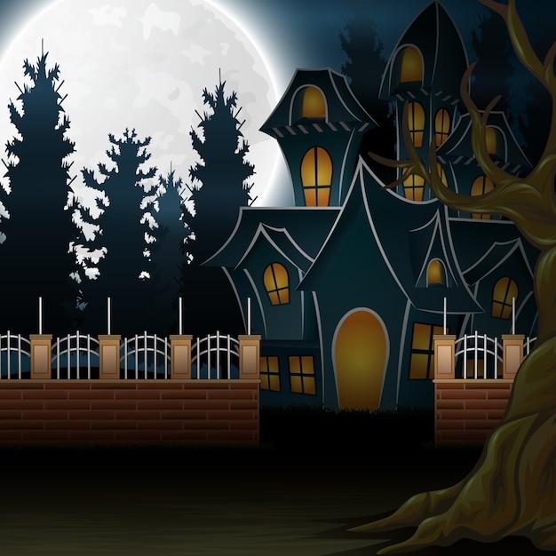 背景の幽霊のある家の眺め Premiumベクター