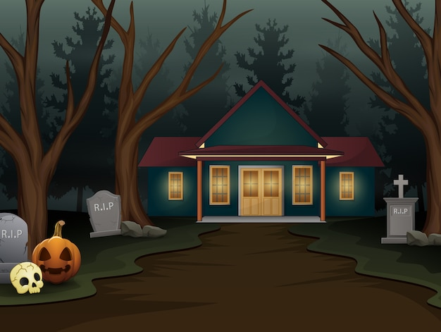 夜の恐ろしい家とハロウィーンの背景 Premiumベクター