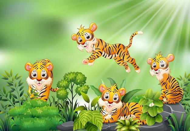 虎の漫画のグループとの自然の風景 Premiumベクター