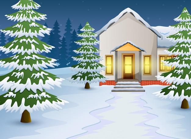 Мультфильм зимнего ночного пейзажа с домом и снегом на улице Premium векторы