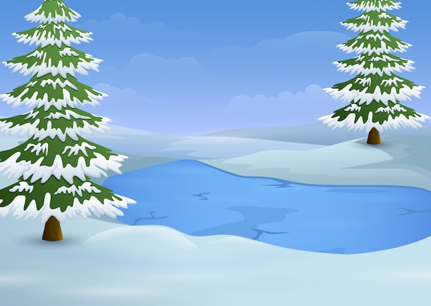 凍った湖とモミの冬の風景 Premiumベクター