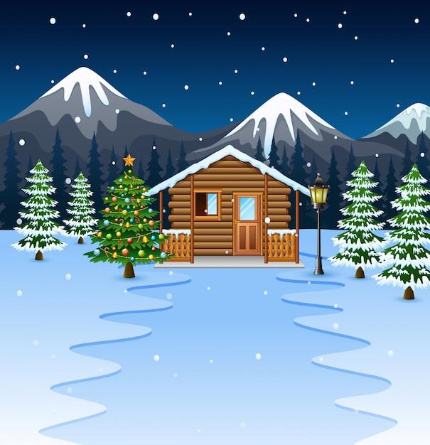 クリスマスツリーの木製家の漫画 Premiumベクター