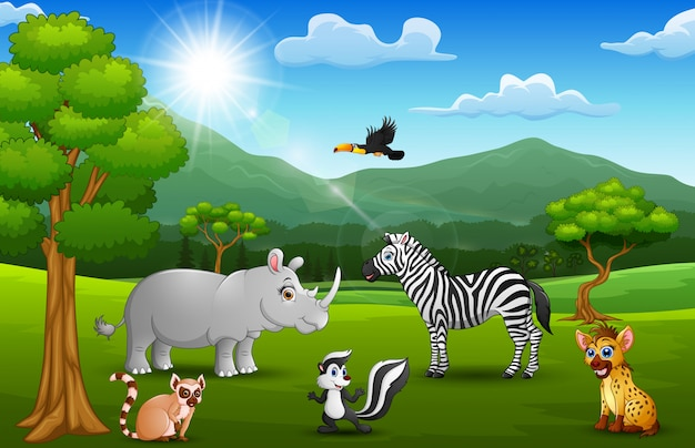 山の背景とジャングルの漫画野生動物 Premiumベクター