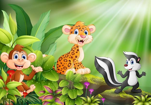 野生動物の漫画と自然の風景 Premiumベクター