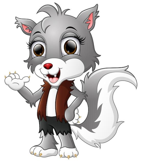 狼男の漫画は手を振って Premiumベクター