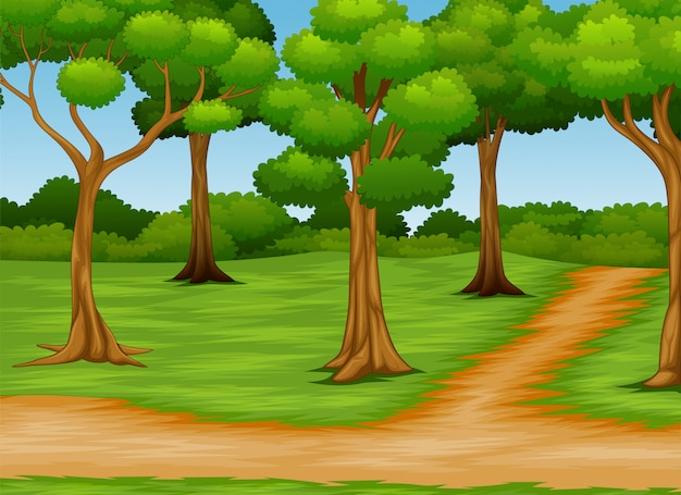 未舗装の道路と森林シーンの漫画 Premiumベクター