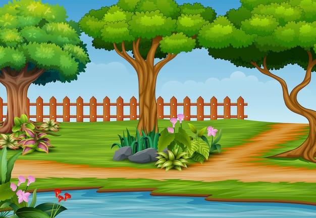 川と美しい公園の風景の背景 Premiumベクター