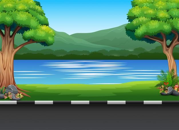 Городской парк пейзаж с рекой и горой Premium векторы