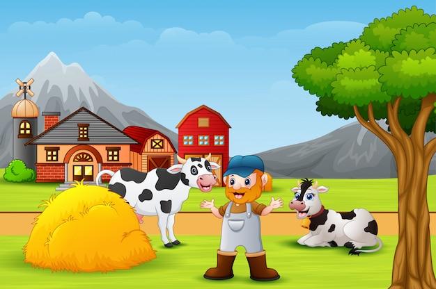 農家と農場の動物の風景 Premiumベクター