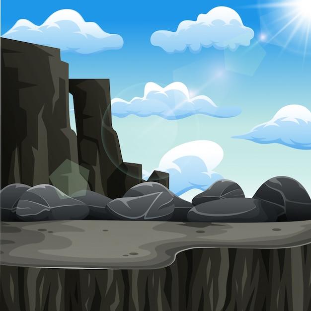 晴れた日の崖 Premiumベクター