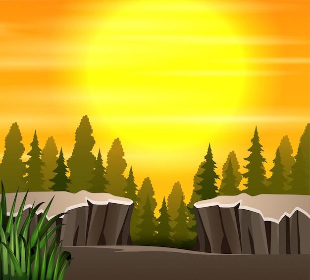 自然夕日のシーンの背景を漫画します。 Premiumベクター