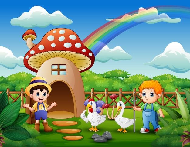 きのこの家の動物と若い農家 Premiumベクター