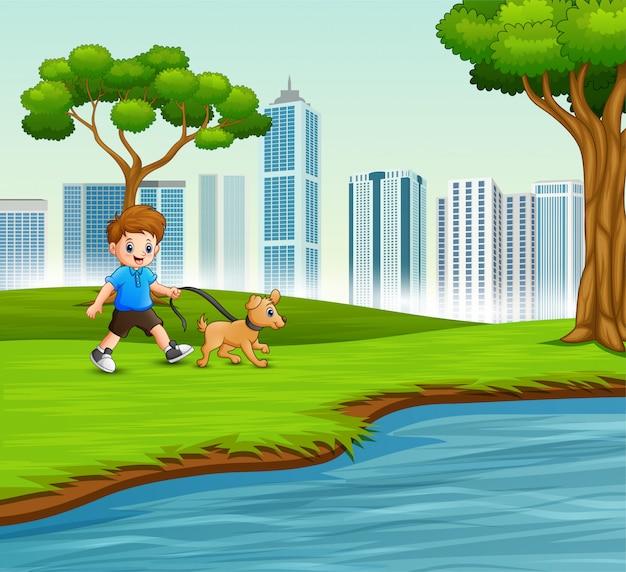 Маленький мальчик со своим питомцем, прогулки по реке Premium векторы