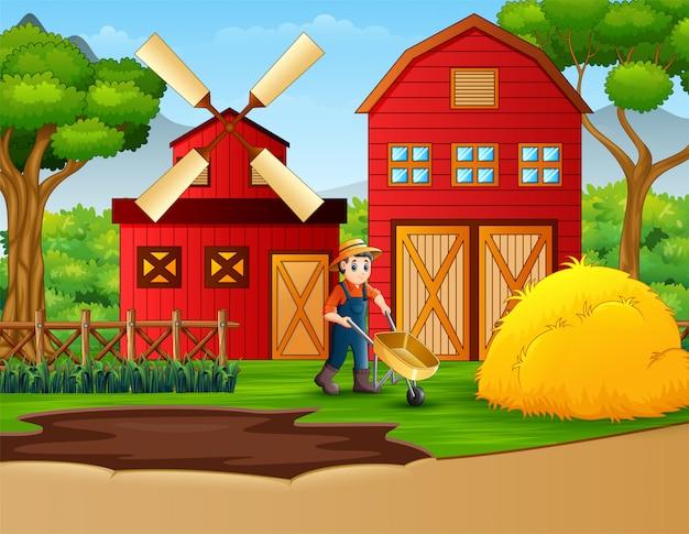 Фермер работает на фоне фермы Premium векторы