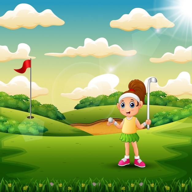 Девушка играет в гольф на площадке Premium векторы