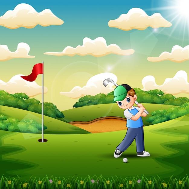 裁判所でゴルフをしている少年 Premiumベクター