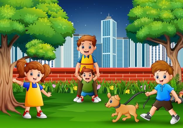 Мультяшная семья веселится в городском парке Premium векторы
