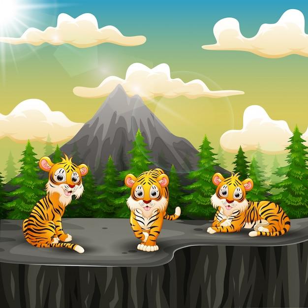 山の上の崖を楽しんで虎グループ漫画 Premiumベクター
