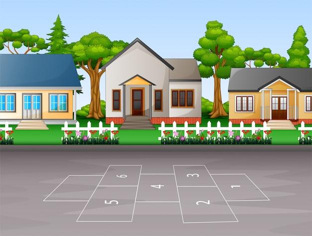 郊外の家の背景 Premiumベクター
