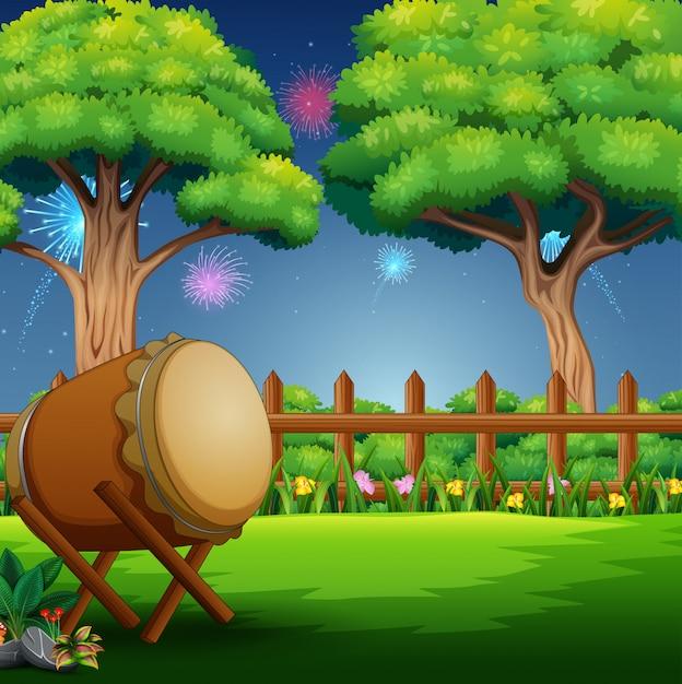 Природа пейзаж с барабаном и фейерверк в небе Premium векторы
