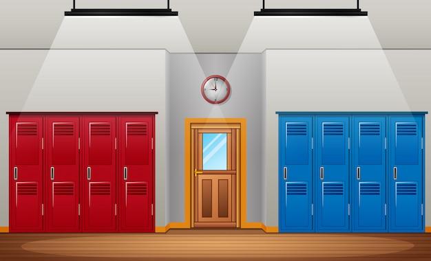 ジムや学校のスポーツ更衣室や玄関ドアの更衣室 Premiumベクター