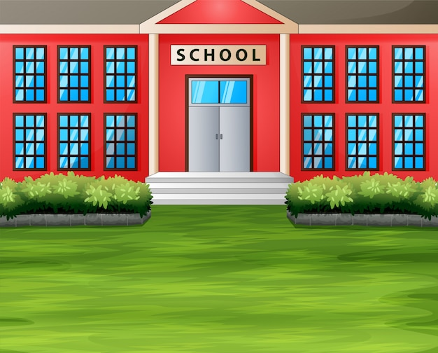 緑の芝生と校舎を漫画します。 Premiumベクター