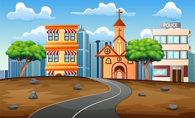 都市の景観背景のアスファルト道路道路 Premiumベクター
