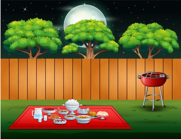 夜のシーンで裏庭のバーベキューパーティー Premiumベクター